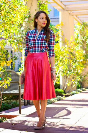 hot pink romwe skirt - heather gray Charlotte Russe shoes