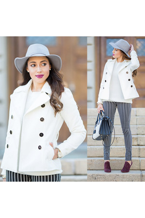 black stripes H&M jeans - silver Dynamic Asia hat - white Charlotte Russe jacket