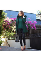 forest green Sachi coat - crimson Charlotte Russe shoes - black Forever 21 jeans