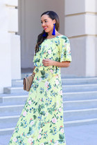 lime green floral asos dress