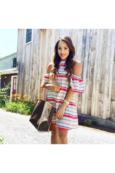 white striped Rent the Runway dress - dark brown Louis Vuitton bag