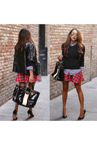white plaid Target shirt - black Gucci shoes - black Walmart sweater