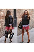 white plaid Target shirt - black Gucci shoes - black Walmart sweater