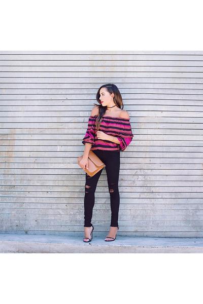 hot pink striped Kristinit top - black Frame jeans - tan Spartina 449 bag