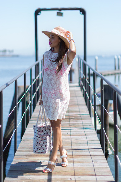 white Charlotte Russe shoes - white tunic Vacay Style dress - beige JCrew hat