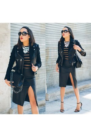black leather jacket Alexander McQueen jacket - black Charlotte Russe shoes