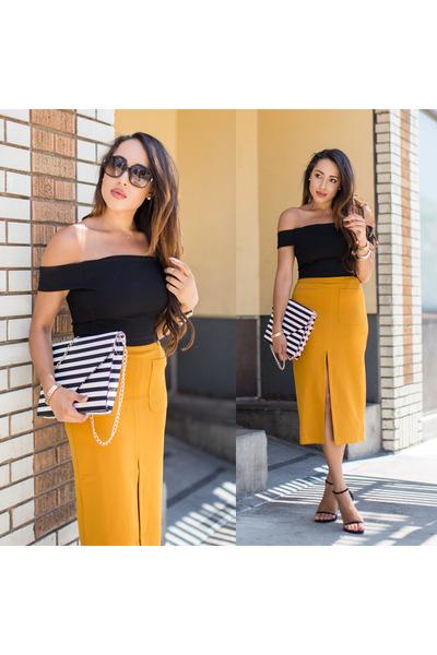 Black-stuart-weitzman-shoes-white-striped-justfab-bag