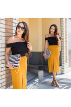 light orange Forever 21 skirt - black stuart weitzman shoes