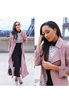 black Gucci shoes - light pink trench coat Forever 21 coat