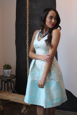 light blue floral Maggy London dress