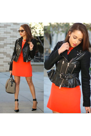 Charlotte Russe necklace - black Steve Madden shoes - carrot orange Tibi dress