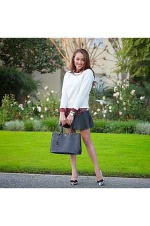 brick red plaid asos shirt - black Prada shoes - white JCrew sweater