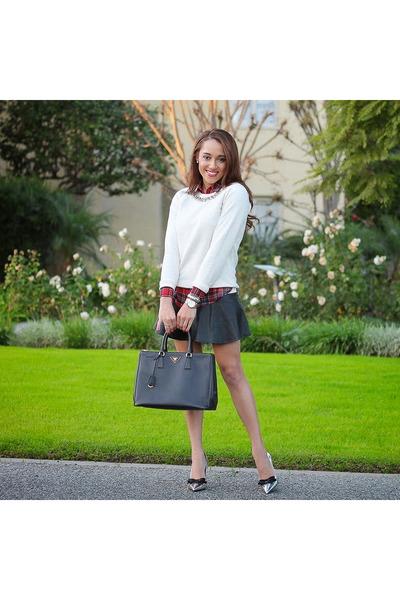 Black-prada-shoes-white-jcrew-sweater-brick-red-plaid-asos-shirt