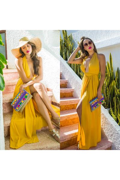 beige Hat Attack hat - Trina Turk shoes - gold Lulus dress - Lulus bag