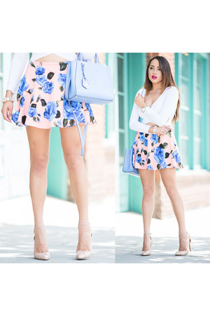 peach floral print Charlotte Russe skirt - eggshell Sole Society shoes