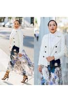 white floral Nordstrom dress - black asos shoes - white Charlotte Russe coat