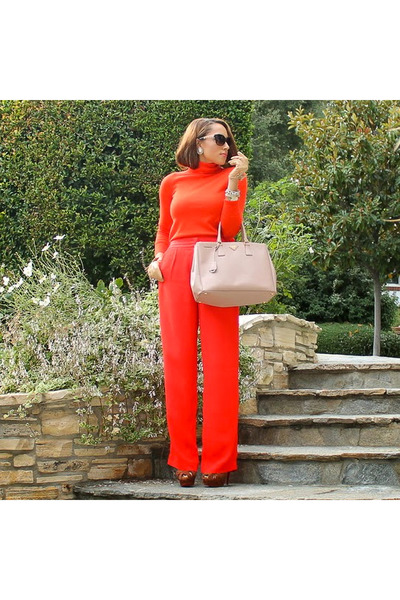 red JCrew sweater - brown Christian Louboutin shoes
