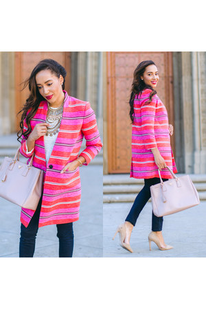 bubble gum striped banana republic jacket - nude Charlotte Russe shoes