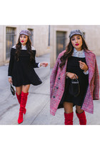 red Nordstrom boots - black sweater dress free people dress