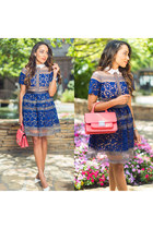 blue lace Sheinside dress - white Zara shoes - hot pink Zara bag - H&M earrings