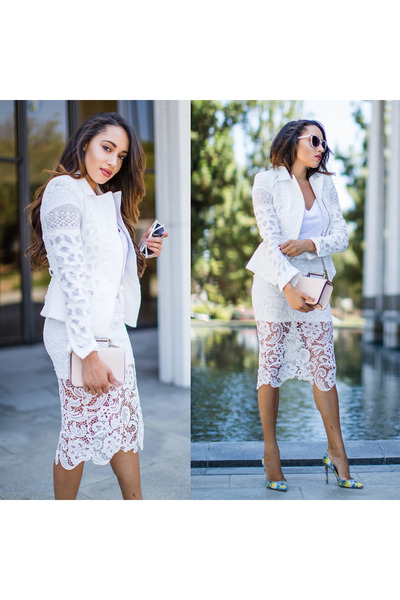 white BCBG jacket - sky blue floral Mary Katrantzou x Gianvitto Rossi shoes