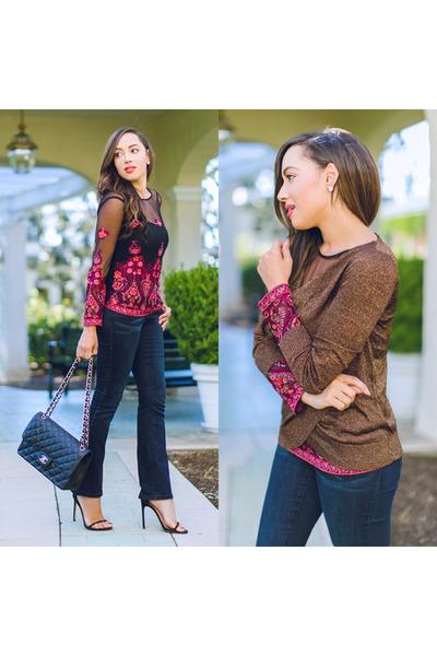 bubble gum Macys top - black stuart weitzman shoes - black Macys jeans