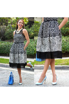 black polka dots Taylor Dress dress - light blue Zara shoes - sky blue Fendi bag