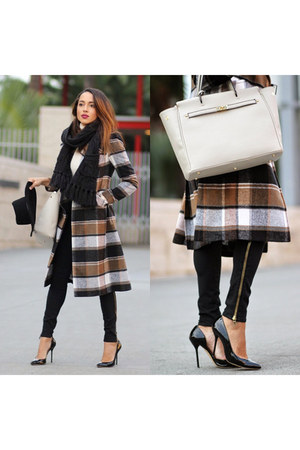 black plaid Rachel Ray Roy coat - black Hudson jeans - black Shop Katwalk hat