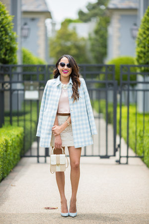 light blue plaid asos jacket - light blue Zara shoes - off white vintage bag