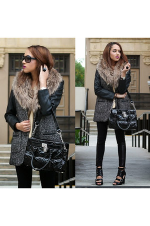 black Charlotte Russe shoes - black fur leather Forever 21 coat