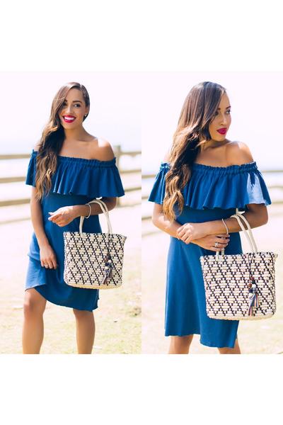 silver ann taylor shoes - blue raquel allegra dress - white Sensi Studio bag