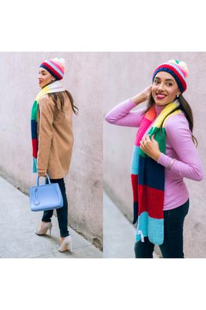 pink beanie Gap hat - beige AQ coat - navy Charlotte Russe jeans