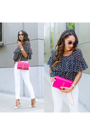 black polka dots H&M top - white gianvitto rossi shoes - white Guess jeans