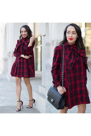 Forever 21 bracelet - black stuart weitzman shoes - crimson plaid Chicwish coat