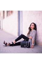 black Chanel bag - white striped Forever 21 top