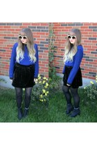 black H&M boots - blue sweater - white kitten eye asos sunglasses