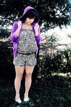 purple Victorias Secret sweater - black Forever 21 suit - black thrifted belt