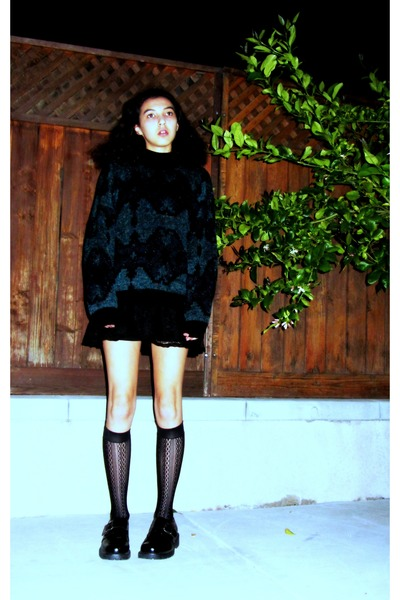 chunky leather Bass shoes - lace H&M dress - knit Gianni Marco sweater