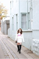 fluffy Miss Shop sweater - leather Chanel bag