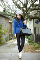 blue Kenzo jumper - leather Givenchy bag - black American Apparel pants