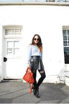 pleather H&M skirt - leather paraty Chloe bag - cotton H&M jumper