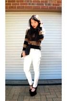 black velvet Jeffrey Campbell heels - white white Zara pants
