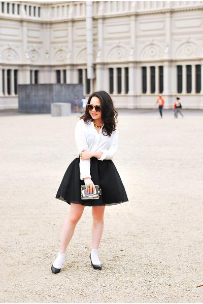 neoprene H&M skirt - cotton Runway Bandits shirt - leather staccato heels