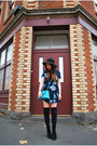Black-pleather-new-look-boots-blue-floral-miss-shop-dress