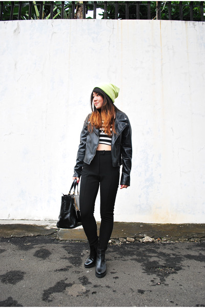 black pleather H&M boots - black pleather Jay Jays jacket - black Forever 21 top