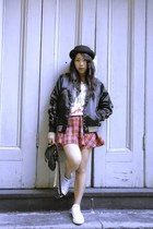 Forever 21 skirt - Topshop hat - Hellz Bellz jacket - Marc Jacobs bag