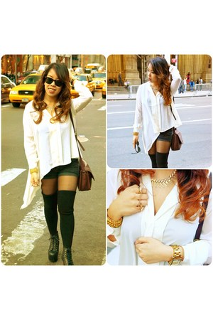 white H&M blouse - brown coach bag - black American Apparel socks