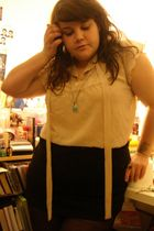 beige Newlook blouse - black H&M skirt - black H&M tights - blue Avon accessorie