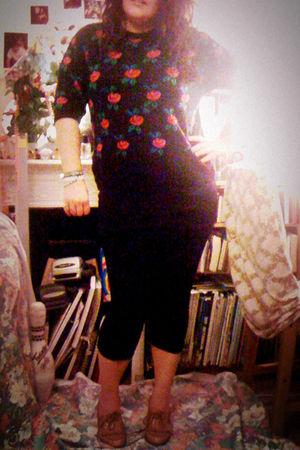 red Marks and Spencers sweater - black Primark leggings - black H&M skirt - beig