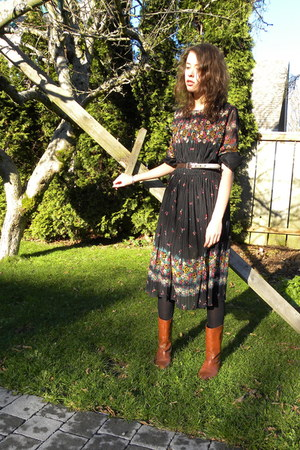 black vintage dress - tawny Maloles boots - brown Target belt